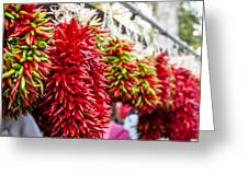 Hanging Chili Pepper Ristras At Farmers Market Greeting Card by Teri Virbickis