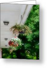 Hanging Flower Baskets On A Porch  Greeting Card
