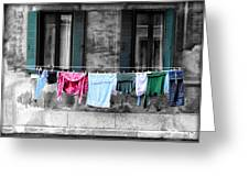 Hanging The Wash In Venice Italy Greeting Card