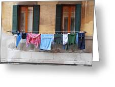 Hanging The Wash In Venice Greeting Card
