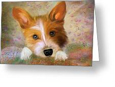 Hankie A Corgi And Westi Mix Cute Dog Greeting Card