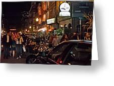 Hanover Street Nights - Boston Greeting Card