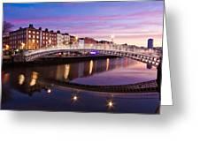 Hapenny Bridge At Dawn - Dublin Greeting Card by Barry O Carroll