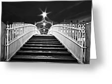 Ha'penny Bridge Steps - Dublin - Black And White Greeting Card