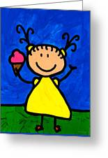 Happi Arte 3 - Little Girl Ice Cream Cone Art Greeting Card
