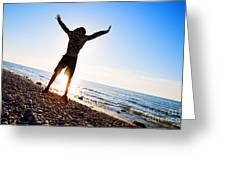 Happiness In The Beach Scenery Greeting Card