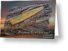 Happy Birthday Greeting Card - Vintage Atom Saltwater Fishing Lure Greeting Card