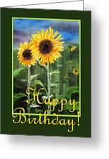 Happy Birthday Happy Sunflowers Couple Greeting Card