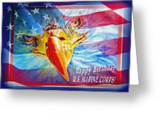 Happy Birthday Marine Corps Greeting Card by Donna Proctor