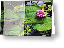 Happy Birthday Water Lily Greeting Card