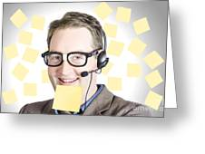 Happy Business Man Wearing Helpdesk Headset Greeting Card