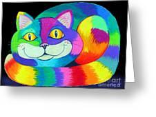 Happy Cat Dark Back Ground Greeting Card