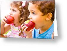 Happy Children Eating Apple Greeting Card