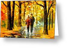 Happy Couple - Palette Knife Oil Painting On Canvas By Leonid Afremov Greeting Card