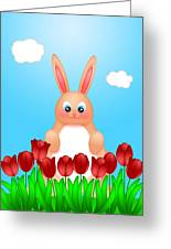 Happy Easter Bunny Rabbit On Field Of Tulips Flowers Greeting Card
