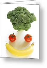 Happy Fruit And Vegetable Face Greeting Card