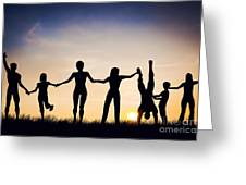Happy Group Of People Friends Family Together Greeting Card