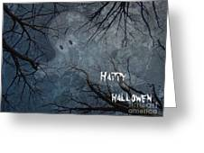 Happy Halloween - Ghost In Trees Greeting Card