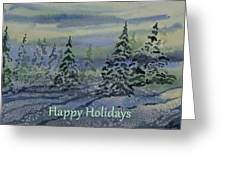 Happy Holidays - Snowy Winter Evening Greeting Card