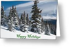 Happy Holidays - Winter Trees And Rising Clouds Greeting Card