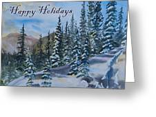 Happy Holidays Forest And Mountains Greeting Card