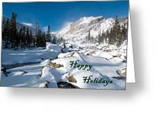 Happy Holidays Snowy Mountain Scene Greeting Card
