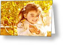 Happy Little Girl In Autumn Park Greeting Card