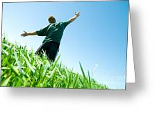 Happy Man On The Summer Field Greeting Card