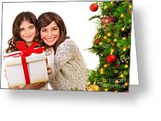 Happy Mother And Daughter On Xmas Eve Greeting Card by Anna Om