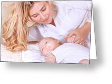 Happy Mother With Newborn Baby Greeting Card
