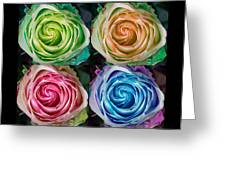 Happy Mothers Day Hugs Kisses And Colorful Rose Spirals Greeting Card