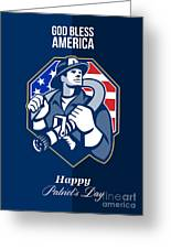 Happy Patriots Day God Bless America Retro Greeting Card