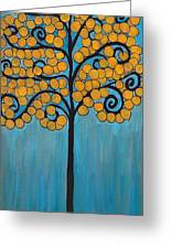 Happy Tree In Blue And Gold Greeting Card