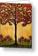 Happy Tree In Red Greeting Card