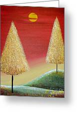 Happy Trees With Red Sky Greeting Card