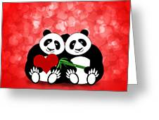 Happy Valentines Day Panda Couple Hearts Bokeh Greeting Card