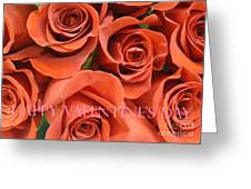 Happy Valentine's Day Pink Lettering On Orange Roses Greeting Card