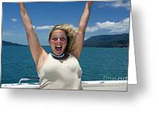 Happy Woman On Holiday  Greeting Card