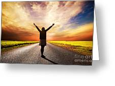 Happy Woman Standing On Long Road At Sunset Greeting Card