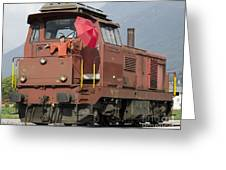 Happy Woman Standing On Train Greeting Card