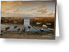 Harbor At Dusk Greeting Card by Pixel Chimp