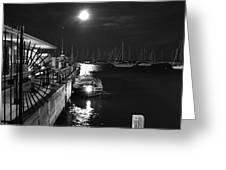 Harbor Boat At Night Greeting Card