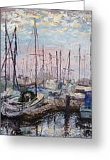 Harbor In Early Morning Greeting Card