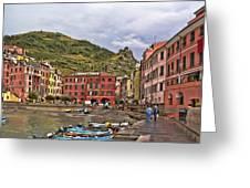 Harbor In Vernazza Greeting Card
