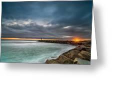 Harbor Jetty Sunset Greeting Card