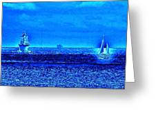 Harbor Of Refuge Lighthouse And Sailboat Abstract Greeting Card