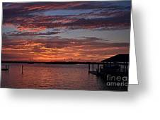 Harbor Side Sunset At Boat Dock Greeting Card