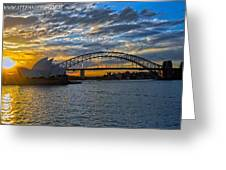 Harbour Bridge And Operahouse Greeting Card