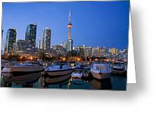 Harbourfront Marina West At Dusk Greeting Card