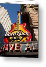 Hard Rock Cafe Guitar Sign In Philadelphia Greeting Card